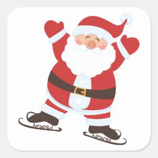 Papá Noel en patines de hielo Pegatina Cuadrada