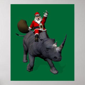 Papá Noel en rinoceronte del rinoceronte Impresiones