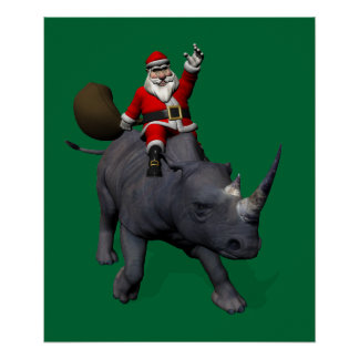 Papá Noel en rinoceronte del rinoceronte Póster