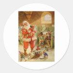 Papá Noel en sus establos del reno de Polo Norte Pegatina