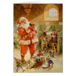 Papá Noel en sus establos del reno de Polo Norte Tarjetas