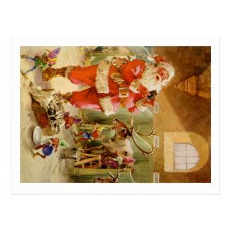 Papá Noel en sus establos del reno de Polo Norte Postal