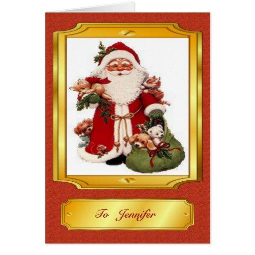 Papá Noel en tarjeta de Navidad roja y de oro