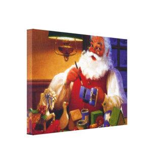 Papá Noel en tienda del juguete Impresión En Lienzo