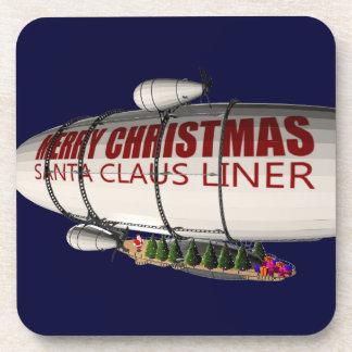 Papá Noel en zepelín Posavasos De Bebida