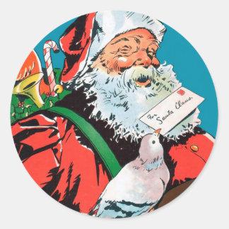 Papá Noel - entrega especial del navidad Pegatina Redonda