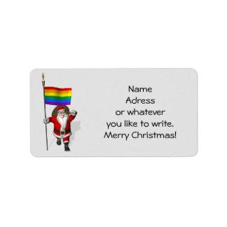 Papá Noel feliz con la bandera del arco iris Etiquetas De Dirección