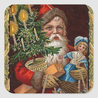 """Papá Noel feliz "" Pegatina Cuadrada"