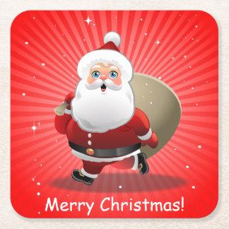 Papá Noel feliz Posavasos De Cartón Cuadrado