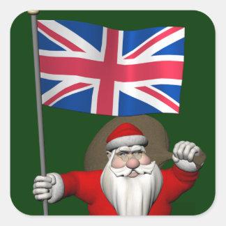 Papá Noel festivo con la bandera del Reino Unido Pegatina Cuadrada