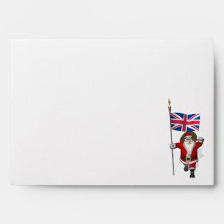Papá Noel festivo con la bandera del Reino Unido Sobre