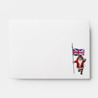 Papá Noel festivo con la bandera del Reino Unido Sobres