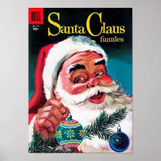 Papá Noel Funnies - adornamiento del árbol Póster