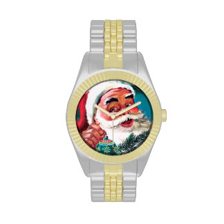 Papá Noel Funnies - adornamiento del árbol Relojes De Pulsera