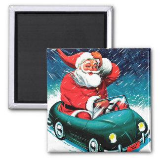 Papá Noel Funnies - coche del juguete Imán Cuadrado