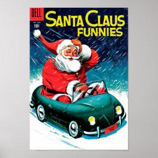 Papá Noel Funnies - coche del juguete Póster