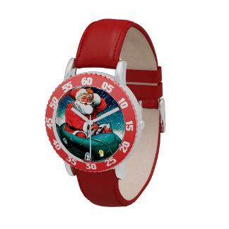 Papá Noel Funnies - coche del juguete Relojes De Pulsera