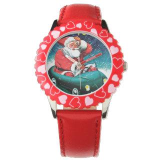 Papá Noel Funnies - coche del juguete Reloj