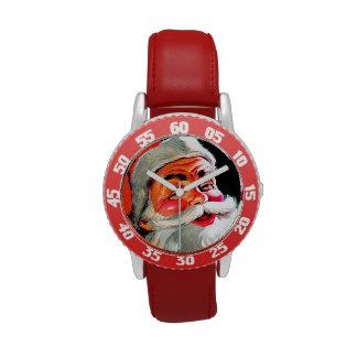 Papá Noel Funnies - retrato Relojes
