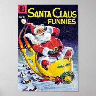 Papá Noel Funnies - trineo de Rocket Posters