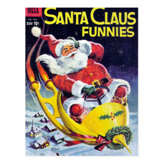 Papá Noel Funnies - trineo de Rocket Tarjeta Postal