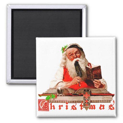Papá Noel, haciendo su lista, comprobándolo dos ve Iman Para Frigorífico