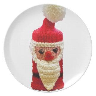 Papá Noel hecho punto Platos