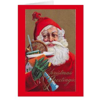 Papá Noel, juguetes y tenis, vintage del navidad Tarjeta De Felicitación