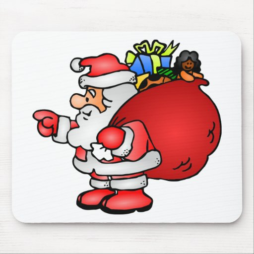 Papá Noel lindo con navidad del bolso del juguete Alfombrillas De Raton