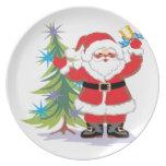 Papá Noel lindo y feliz que suena una Bell Plato De Cena