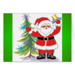 Papá Noel lindo y feliz que suena una Bell Tarjeton