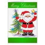 Papá Noel lindo y feliz que suena una Bell Felicitación