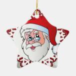 Papá Noel, marco rojo Ornamentos De Navidad