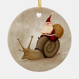 Papá Noel monta el clavo Adorno Navideño Redondo De Cerámica
