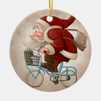 Papá Noel monta la bicicleta Adorno Navideño Redondo De Cerámica