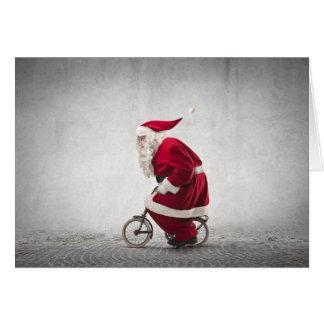 Papá Noel monta una bicicleta Tarjeta De Felicitación