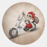 Papá Noel motorizado Etiqueta Redonda