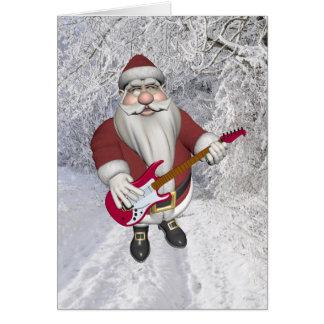 Papá Noel musical con la guitarra eléctrica roja Tarjeta De Felicitación