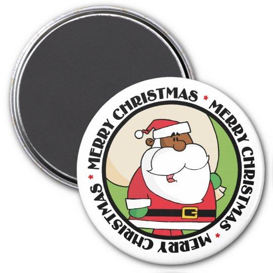 Papá Noel negro con el saco del juguete Imán Redondo 7 Cm
