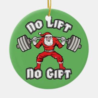 Papá Noel - ninguna elevación, ningún regalo Adorno Navideño Redondo De Cerámica