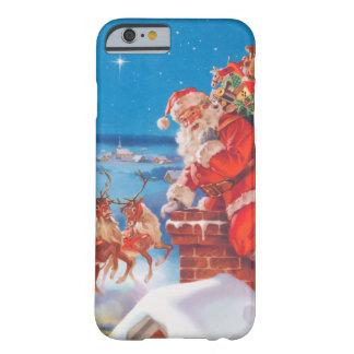 Papá Noel para arriba en el tejado con su reno Funda Para iPhone 6 Barely There