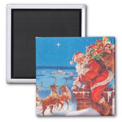 Papá Noel para arriba en el tejado con su reno Imán Cuadrado