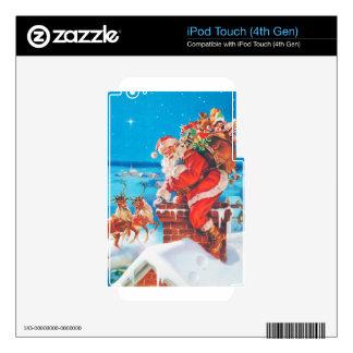 Papá Noel para arriba en el tejado iPod Touch 4G Skin