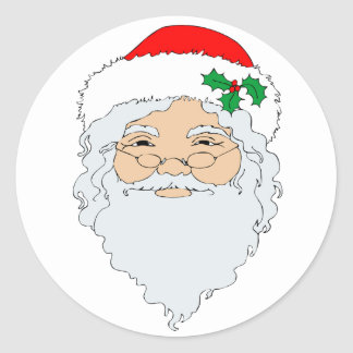 Papá Noel pasado de moda hace frente Etiqueta Redonda