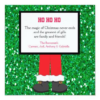 """Papá Noel patea la tarjeta de Navidad Invitación 5.25"""" X 5.25"""""""