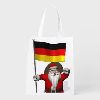 Papá Noel patriótico con la bandera de Alemania Bolsas De La Compra