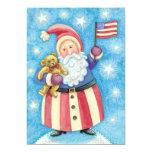 Papá Noel patriótico con la bandera, fiesta de Invitación 12,7 X 17,8 Cm