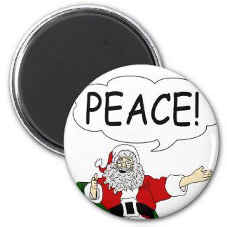 Papá Noel: ¡Paz! Imán Redondo 5 Cm