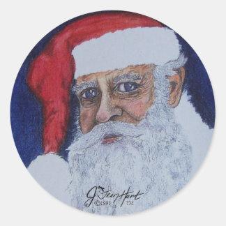 Papá Noel Etiqueta Redonda
