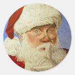 Papá Noel Pegatina Redonda